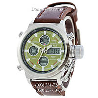 Армейские часы AMST 3003 Silver-Green, кварцевые, противоударные, армейские часы АМСТ