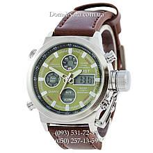 Армейские часы AMST 3003 Silver-Green, кварцевые, армейские часы АМСТ, реплика