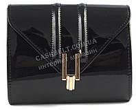 Стильная элитная лаковая небольшая женская сумка клатч для выпускного art. 7782 черная