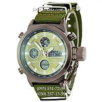 Армейские часы AMST 3003 Black-Green, кварцевые, противоударные, армейские часы АМСТ черный-зеленый, реплика