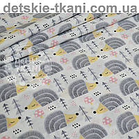 Ткань хлопковая с серыми ёжиками (№ 754а)