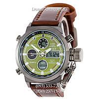 Армейские часы AMST 3003 Black-Green, кварцевые, противоударные, армейские часы АМСТ