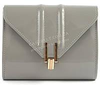 Стильная элитная лаковая небольшая женская сумка клатч для выпускного art. 7782 светло серый