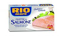 Филе копченого лосося Rio Mare Filetto di Salmone в оливковом масле, 150 г.