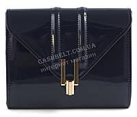 Стильная элитная лаковая небольшая женская сумка клатч для выпускного art. 7782 синяя