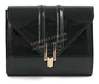Стильная элитная лаковая небольшая женская сумка клатч для выпускного art. 7782 темно зеленая