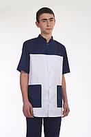 Коттоновый мужской медицинский костюм сине-белого цвета