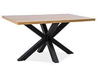 Стол с деревянной блатом Cross 150x90 signal