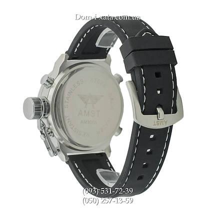 Армейские часы AMST 3003 Silver-Black, кварцевые, противоударные, армейские часы АМСТ черный-серебро , реплика, отличное качество!, фото 2