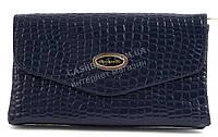 Стильный лаковый небольшой женский клатч барсетка пор кожу рептилии для выпускного art. 8233 темно синяя