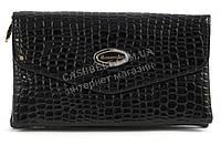 Стильный лаковый небольшой женский клатч барсетка пор кожу рептилии для выпускного art. 8233 черная