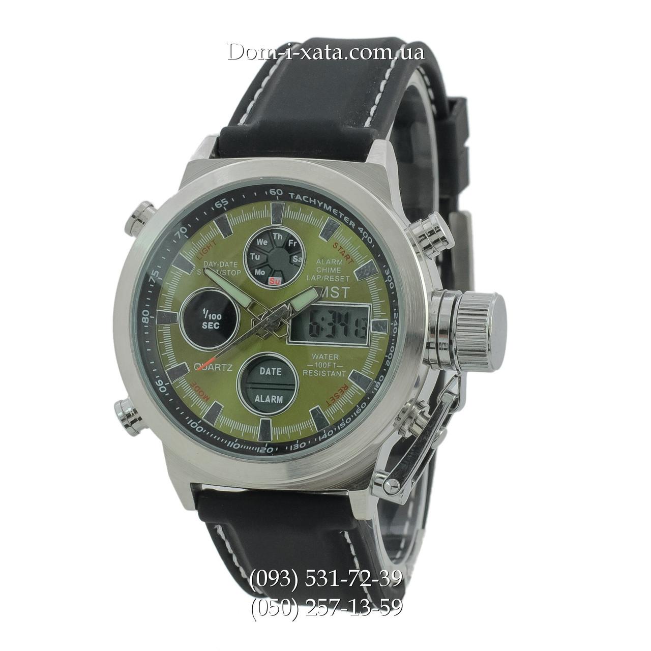 Армейские часы AMST 3003 Silver-Green Black, кварцевые, противоударные, армейские часы АМСТ, реплика, отличное качество!