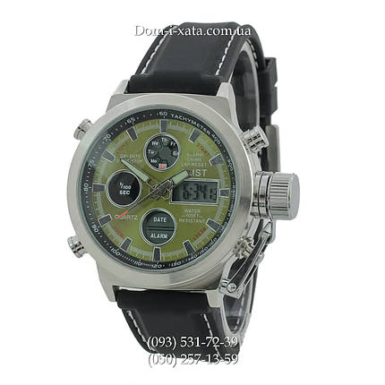 Армейские часы AMST 3003 Silver-Green Black, кварцевые, противоударные, армейские часы АМСТ, реплика, отличное качество!, фото 2