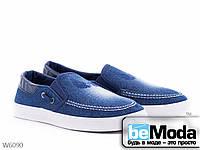 Эффектные мужские джинсовые слипоны Violeta Navy/navy со вставками экокожи синие