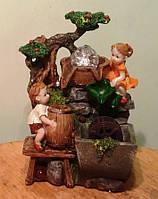 Фонтан декоративный комнатный настольный садовый домашний подсветка Детки шар и подсветка 29 см 307