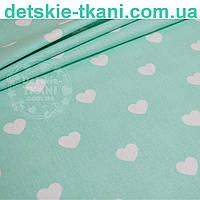 Ткань хлопковая с белыми сердцами на мятном фоне (№ 752)