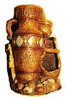 Фонтан декоративный  Четыре горшка с узором на гальке подсветка вращающегося шарика 28 высота на 22 см 8402