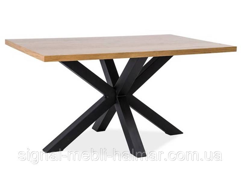 Стіл дерев'яний Cross 180x90 колір дуб/чорний (signal)