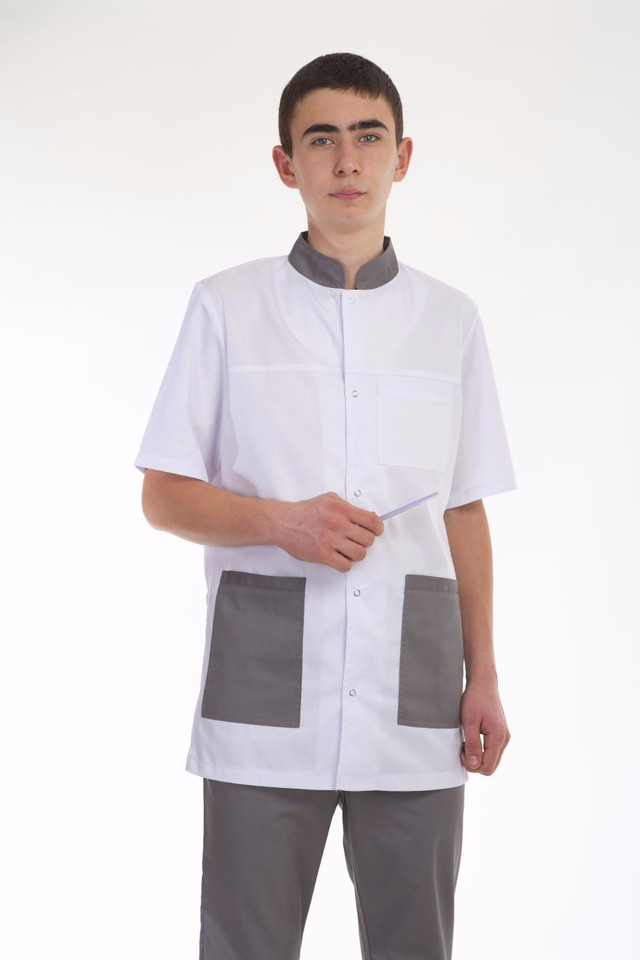 Качественный мужской медицинский костюм бело-серого цвета