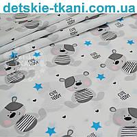 Ткань хлопковая с мишкой Тедди серого цвета и голубыми звёздами (№ 753а)