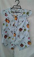 Блузка  детская для девочки 5-11 лет,голубая