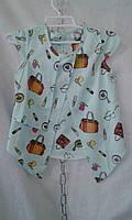 Блузка  детская для девочки 5-11 лет,бирюзовая