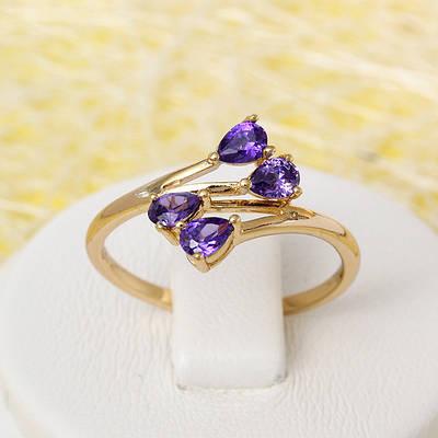 R1-2444 - Позолоченное кольцо с фиолетовыми фианитами, 16.5, 17, 17.5 р.