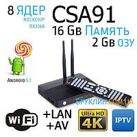 Смарт ТВ Бокс CSA91 Rockchip RK3368 / Android TV Box, Hd медиаплеер, 8 ядер, 2GB/16Gb