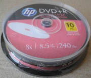 Компьютерный диск HP Двухслойный DVD+R 8,5Gb CB Printable 10 штук