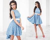 Нарядное женское голубое платье с ассиметричным подолом