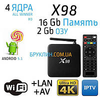 X98 2/16 Gb Андроид Смарт ТВ Приставка / Smart Tv Android Box Ultra Hd 4K