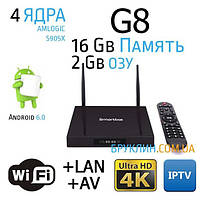 Приставка для телевизора G8 2/16 Gb Смарт ТВ Андроид 6.0 / Smart Tv Android 6.0 Box Ultra Hd 4K
