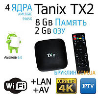 Приставка для телевизора Tanix TX2 1/8 Gb Смарт ТВ Андроид / Smart Tv Android 6.0 Marshmallow Box Ultra Hd 4K