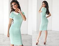 Красивое стильное модное облегающее трикотажное женское  платье с воротником и с коротким рукавом   +цвета