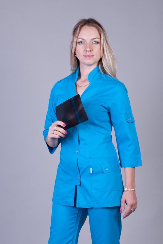 Практичный женский медицинский костюм голубого штанами