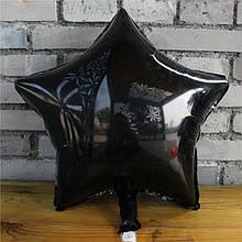 Фольгированный воздушнй шар звезда черная 45 см