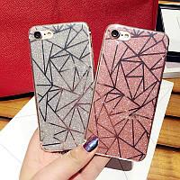 Чехол для iPhone 6 Plus/6S Plus геометрия с блестками, фото 1