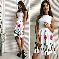 Платье с юбкой в цветок