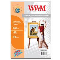 """Фотобумага WWM Глянцевая """"Ткань"""" 200г/м кв, А3, 20л (GC200.A3.20)"""