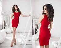 Красивое модное короткое  женское молодежное платье 2017 Красный, 42