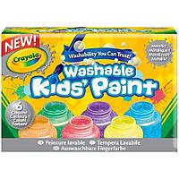 Набор легко смываемые краски Crayola 6 цветов металлик 354 мл Сделаны в США