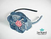Джинсовий обруч квітка ручна робота