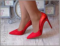 """Туфли """"Мери"""" красные  эко-замш+экокожа"""