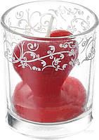 Свеча Сердце в стакане с декором 100780