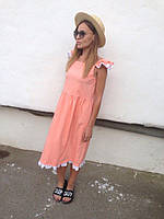 Женское свободное платье с рюшами. Ткань: поплин. Размер: универсальный см,мл. Цвет: персиковый.