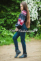 Блузка черная вышитая, вышиванка, лен, этно стиль, Bohemia