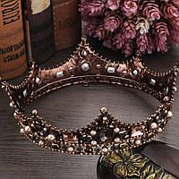 Круглая корона под бронзу с разноцветными камнями, диадема, тиара, высота 5,5 см.