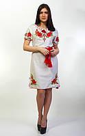 Вышитое льняное женское платье Зоряна с коротким рукавом