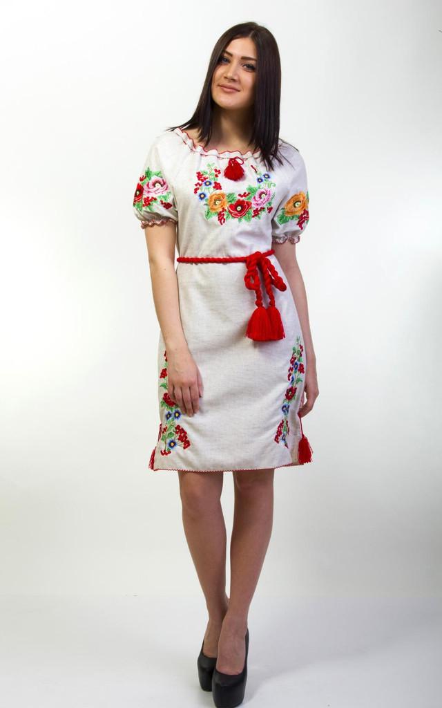 Вышитое льняное женское платье Диана с коротким рукавом