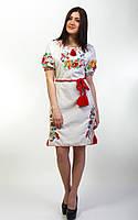 Вышитое льняное женское платье Диана с коротким рукавом, фото 1